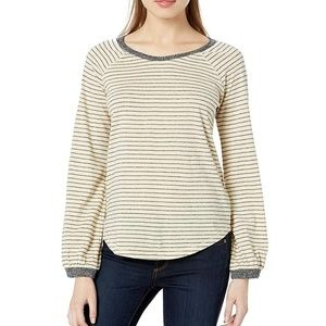 Luck Brand Tan Puff Sleeve Pullover
